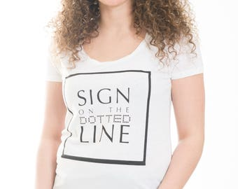 Sign On Dotted Line, Women's Short Sleeved T-Shirt, Bamboo Viscose
