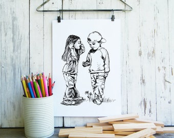 Boy and girl print, Kids poster, Black and white printable, Coloring pages, craft supply, Digital print, Gift for kids