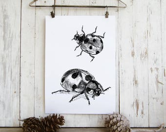 Kids Room Decor, Ladybug Printable, Ladybugs Wall Hanging, Insects Print, Bug Wall Art, Nature Wall Decor, Gift Under 10