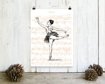 Ballerina Poster, ballerina Print, Ballet Art, Wall Art, Girls Room Decor, Dance Teacher Gift, Print On Paper, Wall Hanging, Christmas Gift