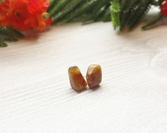 Agate Stud Earrings >> Natural Stones on Sterling Silver Posts >> Nature Boho Valentine's Day Gift For Her >> Unique Nevada Gemstone Jewelry