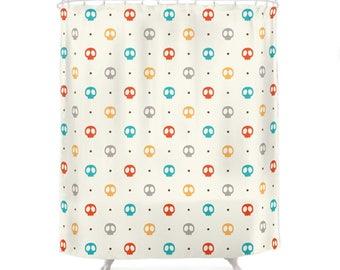 Color Skulls Pattern Shower Curtain