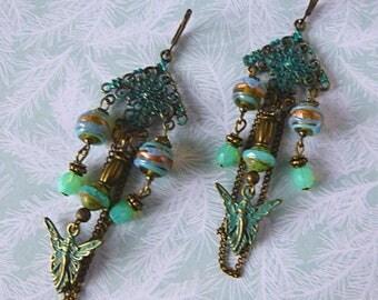 "Earrings Art Nouveau ""Melusine"" Bohemian glass, filigree, bronze patina, fairies, Murano glass"