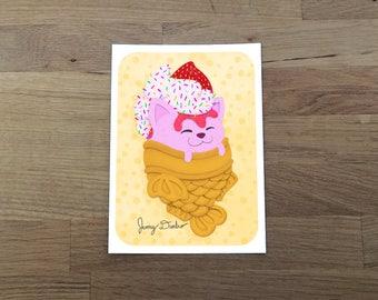 Cat Taiyaki Ice Cream Art Print 5x7, Cat Print, food illustration, cute print, Japanese sweets