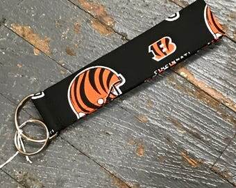 Handmade Fabric Cloth Key Chain Fob Lanyard Holder NFL Football Cincinnati Bengals