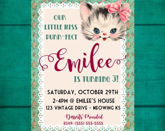 Vintage Cat Birthday Invitation, Kitty Cat Birthday Invitation, Digital Birthday Invite