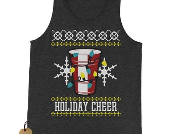 Holiday Cheer Red Cup Ugly Christmas Jersey Tank Top for Men