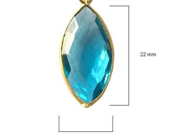 BLUE TOPAZ MARQUISE 11X22 mm gold single q