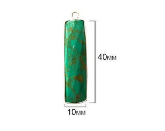 BLUE TURQUOISE RECTANGLE 10X40 mm silver single s