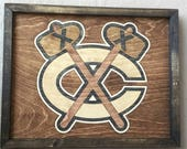 Chicago Blackhawks Wooden Inlay Wall Art