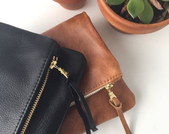 Bridesmaid Gift // Brown Leather Foldover Clutch // Evening Clutch // Leather Bag
