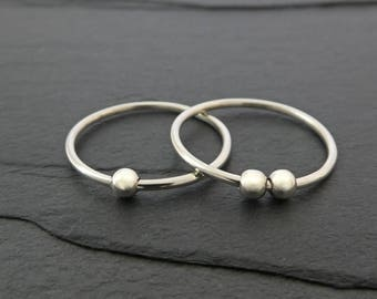 Smooth Bead Sterling Silver Fidget Ring - Thin Sterling Silver Spinner Ring, Spinning Bead Ring, Worry Ring - Petite Silver Bead Ring