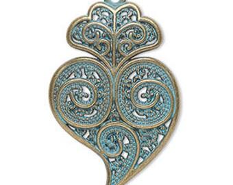 Focal Heart Pendant, Antiqued Gold, Green Patina, Filigree Swirl Design, 40x25mm, 2 each, D1079