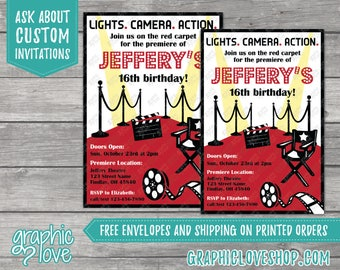 Personalized Hollywood Movie Premeire Birthday Invitation, Any Age | 4x6 or 5x7, Digital or Printed, FREE US Shipping