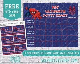 Ultimate Spiderman Potty Training Chart, FREE Punch Cards | Digital JPG Files, Instant Download, High Resolution