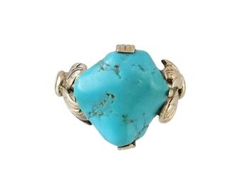 Vintage 14K Rose Gold Turquoise Nugget Ring