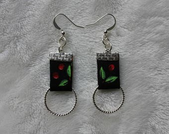 earring, crafts, textile, fabric, jewelry.