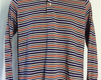 Vtg 70s Sibley's Stripes Long Sleeve Shirt M 50/50 Nerd Chic