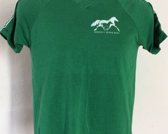 Vtg 70s Early 80s Kentucky Horse Park V-Neck T-Shirt Green S Sportswear 50/50 Raglan Stripes