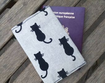 Passport beige black cats or car papers cover