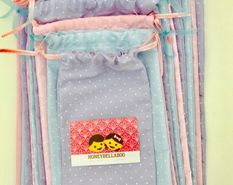 Handmade Bespoke Baby Blue/Pink/Purple Fine Polka Dot Fabric Pass The Parcel Bags X 10