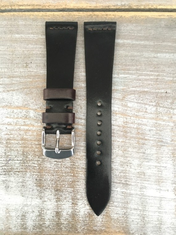 20/16mm Black Horween Shell Cordovan watch band - simple middle stitch