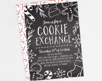 Cookie Swap Invitations, Christmas Party Invitations, Holiday Party Invitations, Printable Christmas Invitation, Printed Christmas, Chalk