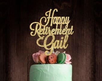 Retirement cake topper, cake topper, gold cake topper, custom cake topper