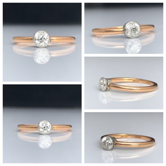 Antique 22ct Gold Diamond Solitaire 035ct Engagement Ring