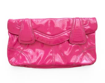 Pink Clutch Bag, Patent Pink Purse, Hot Pink Vintage Clutch Bag, Hot Pink Vintage Purse, Patent Pink Bag, Patent Pink Clutch Bag