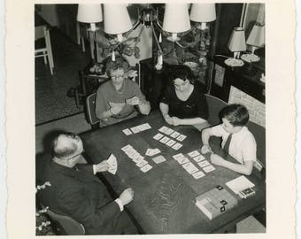 Vintage photo 'Word Game' vernacular photos snapshot, home family playing game, homy hominess, grandparents, grandson