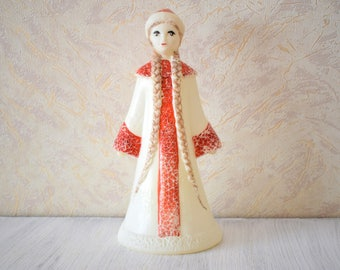 Rare Plastic Snow-Maiden Vintage Toy Snegurochka Soviet Christmas New Year Decoration Collectible
