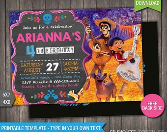 Coco Invitation - 40% OFF - INSTANT DOWNLOAD - Printable Disney Coco Invite - Disney Coco Invitation - DiY Personalize & Print - (COin02)