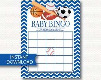 ALL SPORT Boy Baby Shower Bingo Game Card - Instant Download - Cute Baseball Bat Basketball Football Soccer Ball Blue Chevron Printable B105
