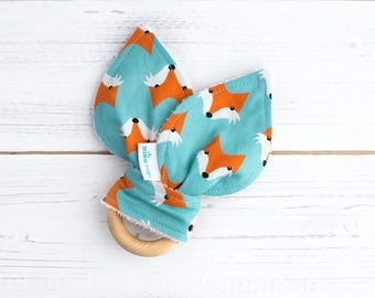 Fox Teether - Baby Teether - New Baby Gift - Baby Must Have - Baby Gift Ideas -  Woodland Teether - Wooden Toy - Organic Baby Gift - Unique