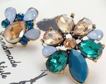 Retro Mismatched Rhinestone Earrings, Stud Earrings, Flower Earrings