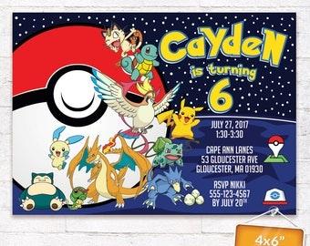 Pokemon Invitation Pokemon Go Photo Image Birthday Party Invite Pokemon Battle Printables Supplies Pack Customized Digital File