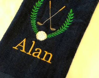 GOLF TOWEL ~ Velour Sports Towel w/ Grommet PERSONALIZED Father Son Team Tournament Gift Trophy Towel / 2 Towel Option - You customize!