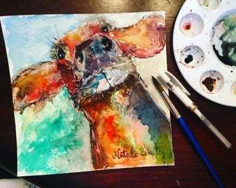 8x8 Abstract Watercolor Cow Print