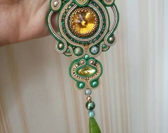 Sale !! Gold green soutache pendant with natural stone