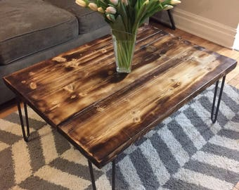 Rustic Distressed Wood Coffee Table on Vintage Style Hairpin Legs