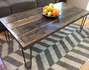 Rustic Wood Coffee Table on Vintage Style Hairpin Legs