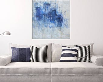 Large Abstract Cityscape Painting Original City Skyline 24 x 24 inches Abstract Blue Beige White Art Abstract Gift