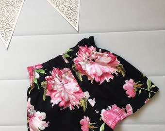 Girls Shorts High Waisted Size 3 Bloom Floral, girls fashion, handmade clothing, ready to ship