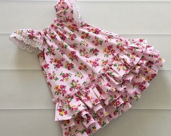 Girls Dress, Ruffle Dress, first birthday dress, girls party dress, size 0, flower dress