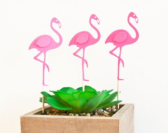 Pink Flamingo Cupcake Toppers, Decorations, Summer Flamingo Fiesta Party Deco. Set of 12