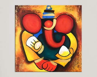 Ganesha Painting, Indian art, Painting on canvas, Indian Contemporary art, Abstract Painting, Modern wall art, Elephant God, Ganesh art