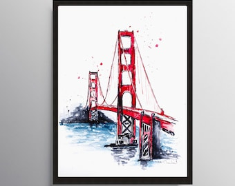San Francisco, Golden gate painting, Art Poster, California painting, City art, Watercolor Print, Cityscape art, Illustration, Travel art