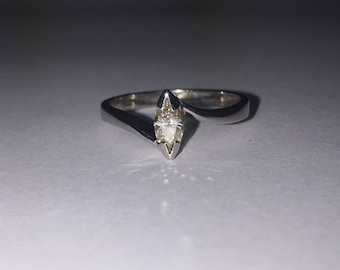 0.30ct Marquise Diamond Solitaire Ring in 18K White Gold
