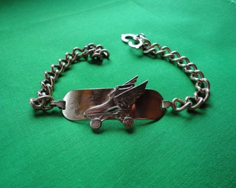 Gold Tone Winged Roller Skate ID Bracelet